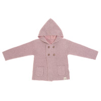 Baby Jacke - Knitted Hoodie GOTS, Garden Explorer Light Pink