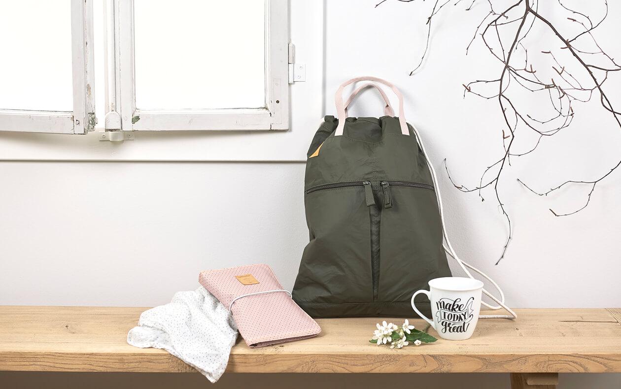 LAESSIG-Coole-Kombi-String-Bag-olive-und-Windeltasche-Changing-Pouch-Alternative-zur-Wickeltasche