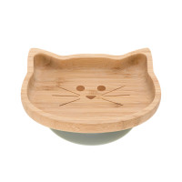 Bambus Kinderteller mit Saugnapf - Platter, Little Chums Cat