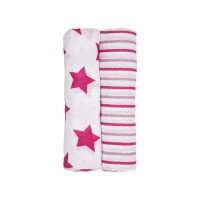 Swaddle & Burp Blanket X-large Stars&Stripes girls