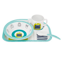 Kindergeschirr Dish Set, Little Monsters Bouncing Bob