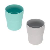 Kinderbecher im Set (2 Stk) - Mug, Turquoise - Grey