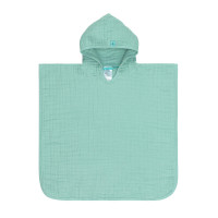Kinder Badeponcho aus Mull - Muslin Poncho, Mint