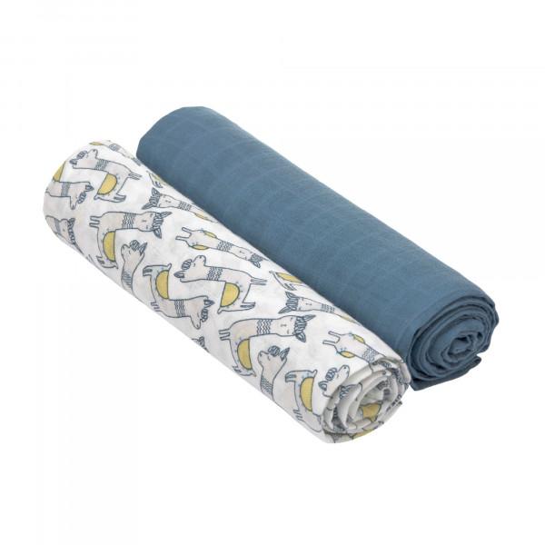 Lässig Mulltücher - Heavenly Soft Swaddle XL Glama Lama Blue ...